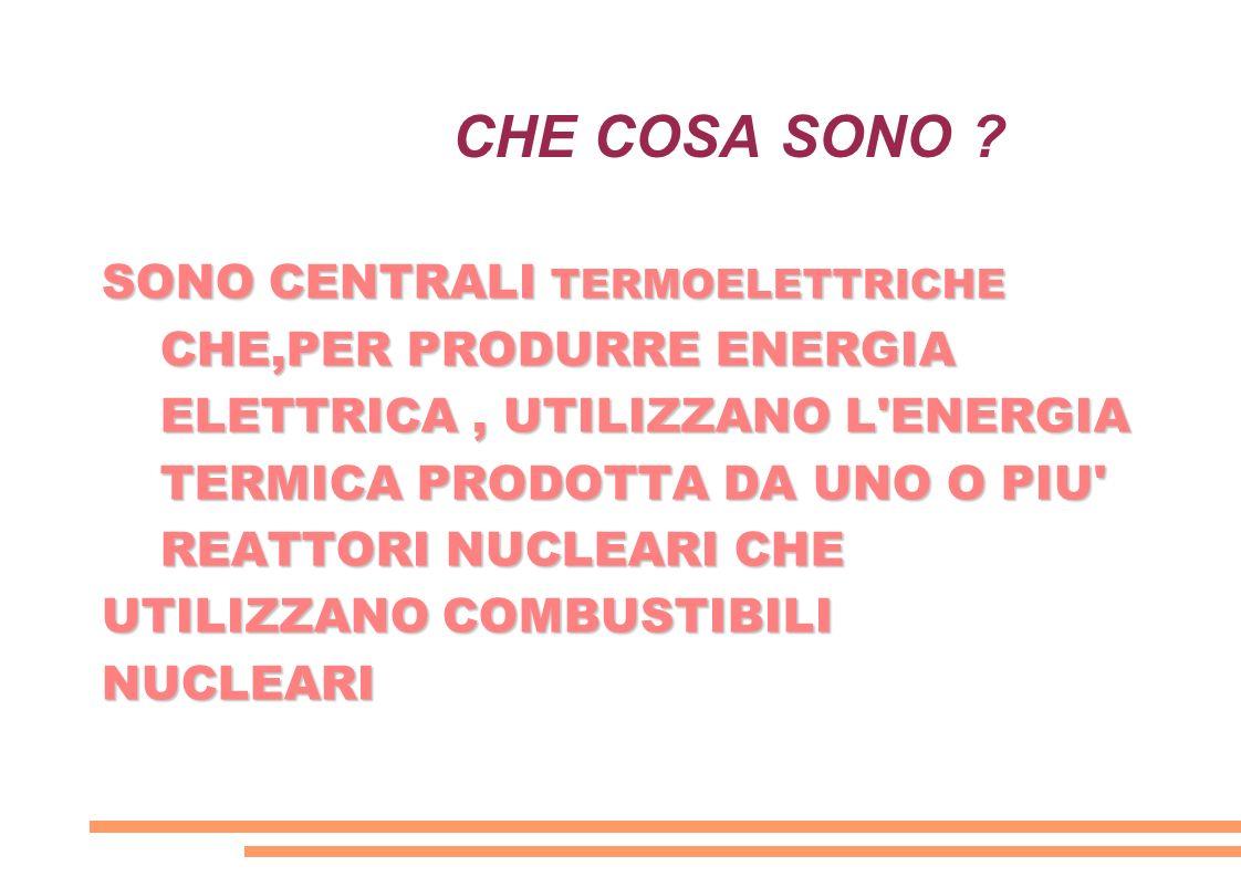 CHE COSA SONO ? SONO CENTRALI TERMOELETTRICHE CHE,PER PRODURRE ENERGIA ELETTRICA, UTILIZZANO L'ENERGIA TERMICA PRODOTTA DA UNO O PIU' REATTORI NUCLEAR