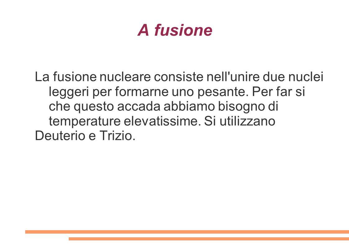 A fusione La fusione nucleare consiste nell'unire due nuclei leggeri per formarne uno pesante. Per far si che questo accada abbiamo bisogno di tempera