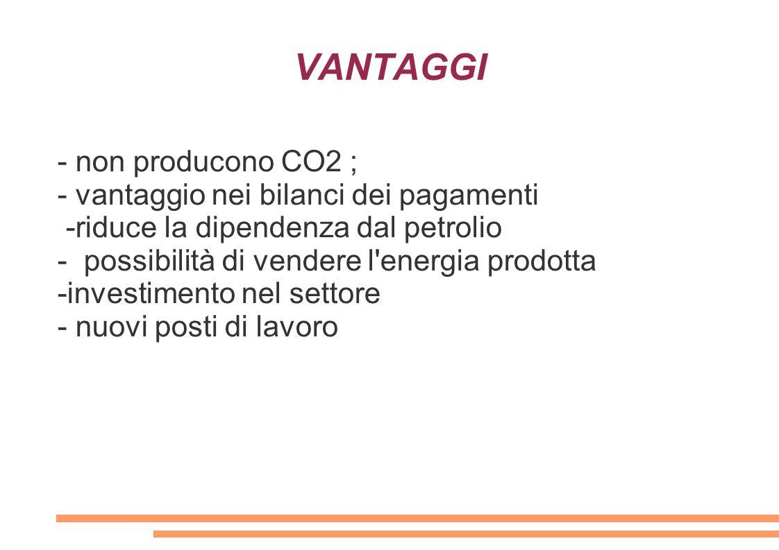 VANTAGGI - non producono CO2 ; - vantaggio nei bilanci dei pagamenti -riduce la dipendenza dal petrolio - possibilità di vendere l'energia prodotta -i