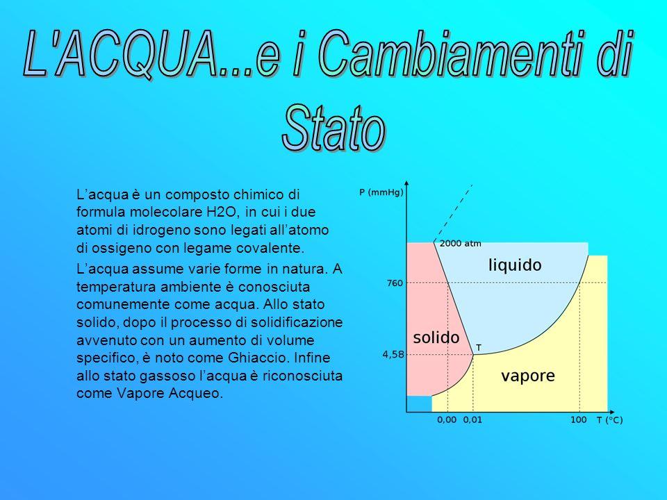 Lacqua è un composto chimico di formula molecolare H2O, in cui i due atomi di idrogeno sono legati allatomo di ossigeno con legame covalente. Lacqua a