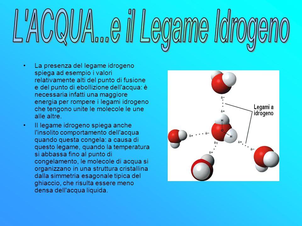 La presenza del legame idrogeno spiega ad esempio i valori relativamente alti del punto di fusione e del punto di ebollizione dell'acqua: è necessaria