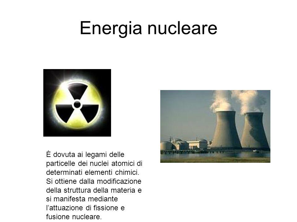 Energia nucleare È dovuta ai legami delle particelle dei nuclei atomici di determinati elementi chimici. Si ottiene dalla modificazione della struttur