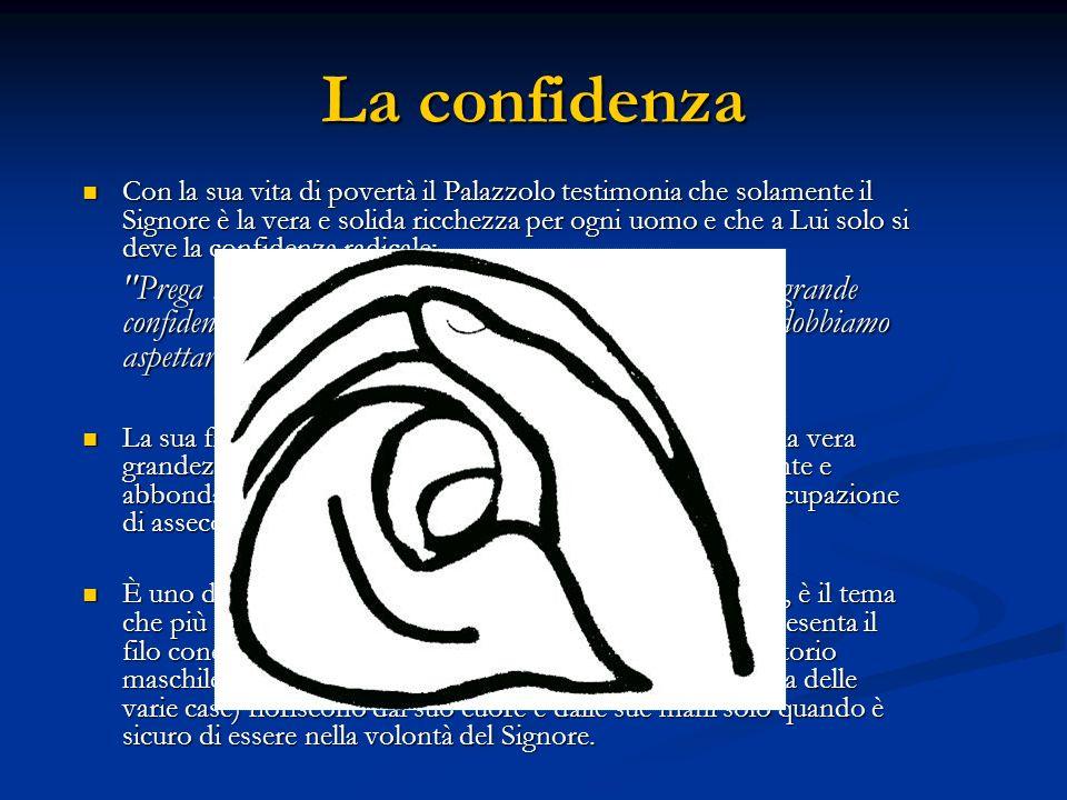 La confidenza Con la sua vita di povertà il Palazzolo testimonia che solamente il Signore è la vera e solida ricchezza per ogni uomo e che a Lui solo