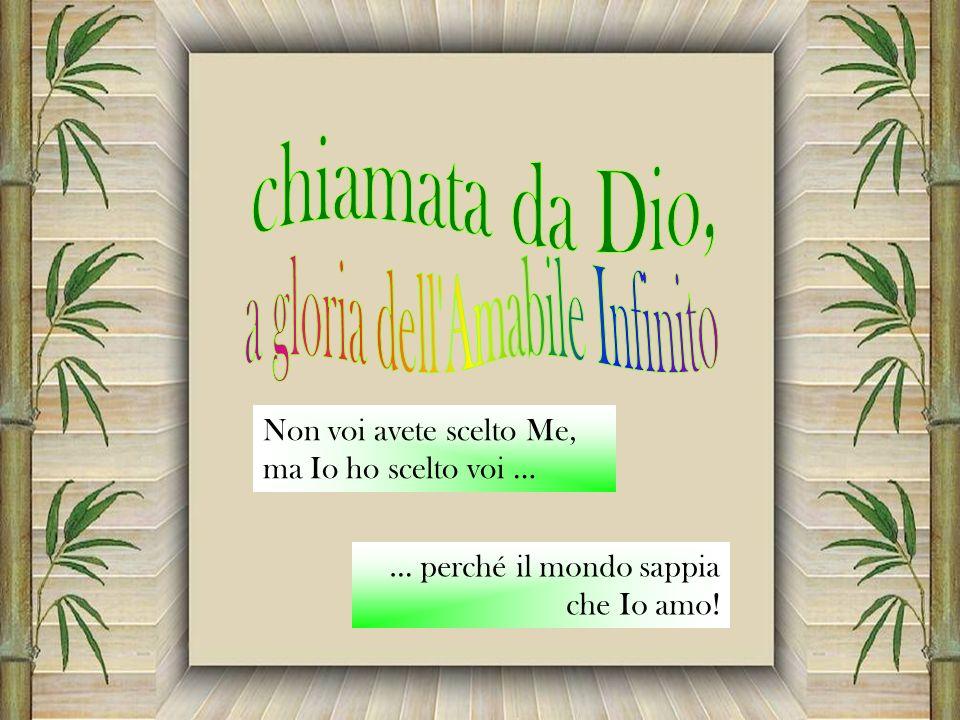 Non voi avete scelto Me, ma Io ho scelto voi … … perché il mondo sappia che Io amo!