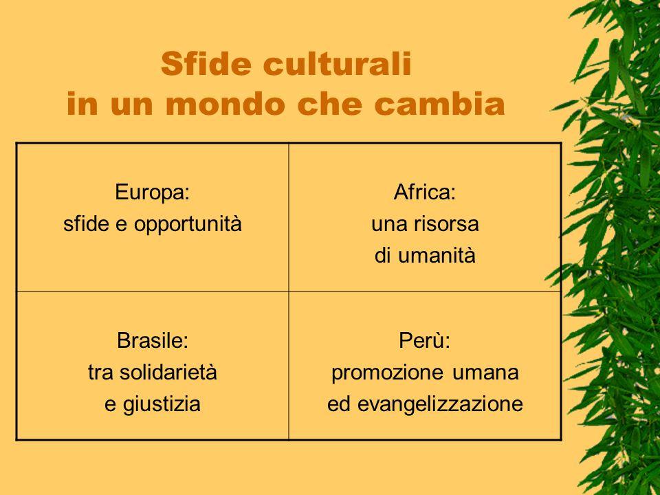 Sfide culturali in un mondo che cambia Europa: sfide e opportunità Africa: una risorsa di umanità Brasile: tra solidarietà e giustizia Perù: promozion