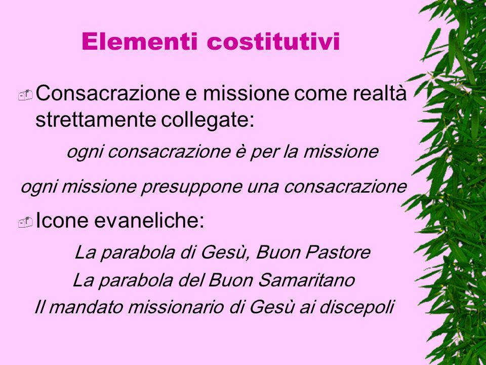 Elementi costitutivi Consacrazione e missione come realtà strettamente collegate: ogni consacrazione è per la missione ogni missione presuppone una co