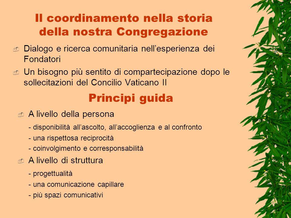 Il coordinamento nella storia della nostra Congregazione Dialogo e ricerca comunitaria nellesperienza dei Fondatori Un bisogno più sentito di comparte