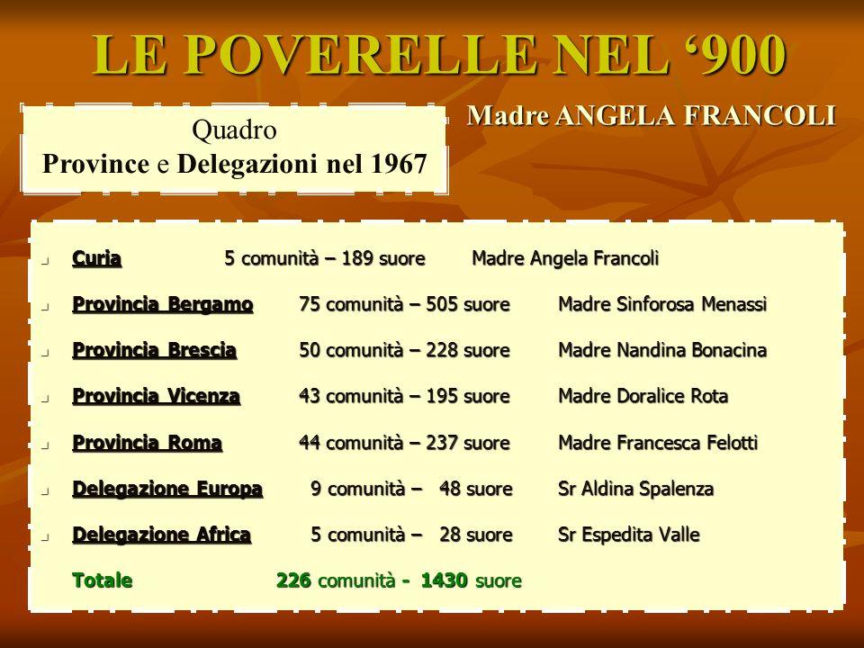 LE POVERELLE NEL 900 Madre ANGELA FRANCOLI Quadro Province e Delegazioni nel 1967 Curia 5 comunità – 189 suore Madre Angela Francoli Curia 5 comunità