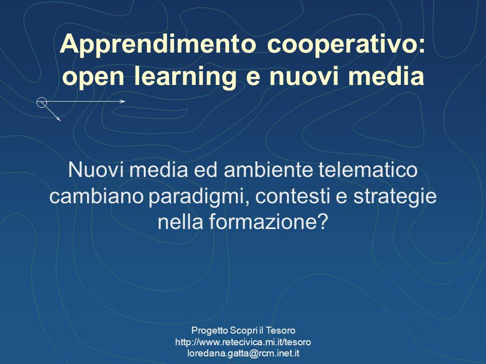 Progetto Scopri il Tesoro http://www.retecivica.mi.it/tesoro loredana.gatta@rcm.inet.it Apprendimento cooperativo: open learning e nuovi media Nuovi m