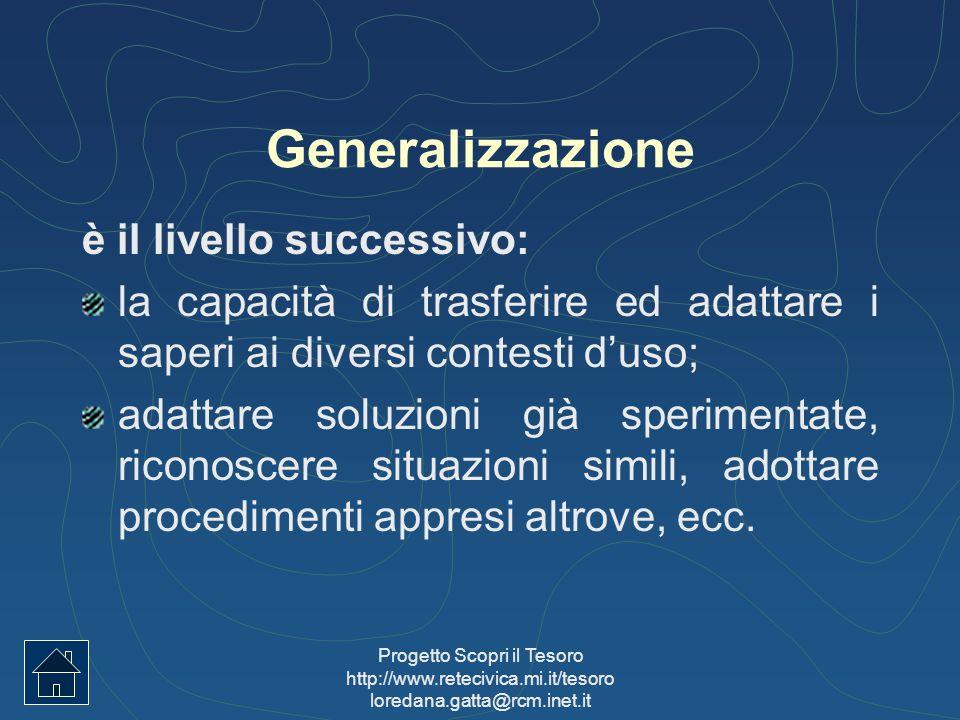 Progetto Scopri il Tesoro http://www.retecivica.mi.it/tesoro loredana.gatta@rcm.inet.it Generalizzazione è il livello successivo: la capacità di trasf