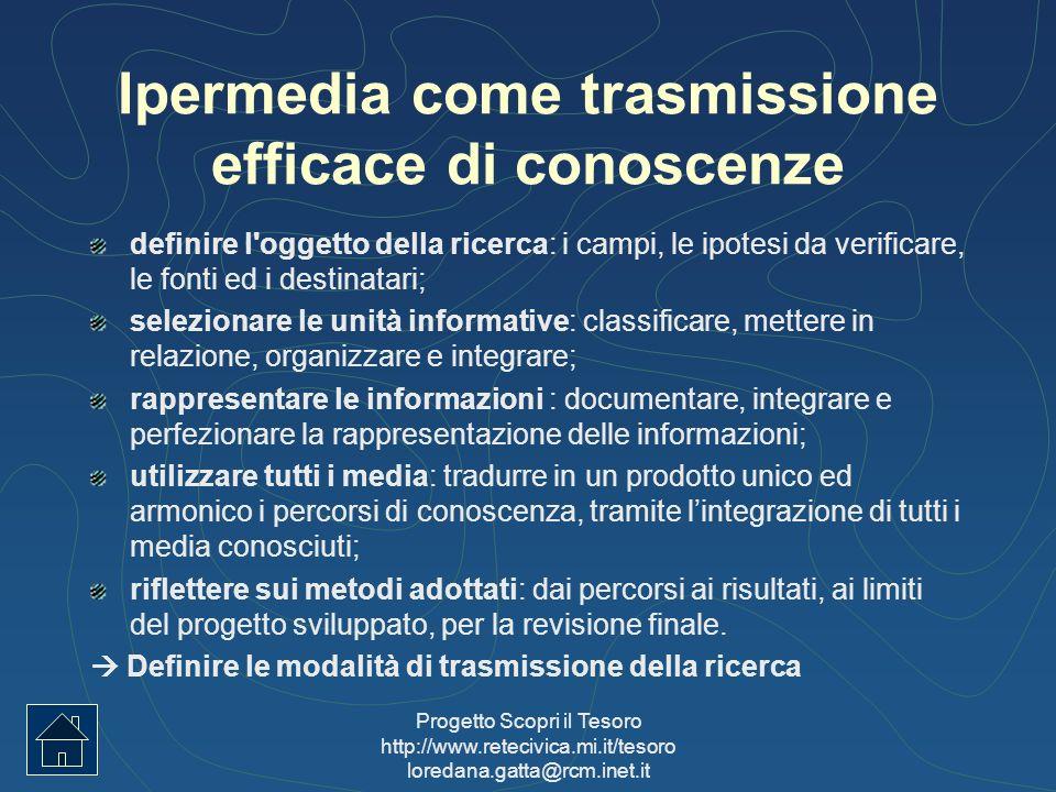 Progetto Scopri il Tesoro http://www.retecivica.mi.it/tesoro loredana.gatta@rcm.inet.it Ipermedia come trasmissione efficace di conoscenze definire l'