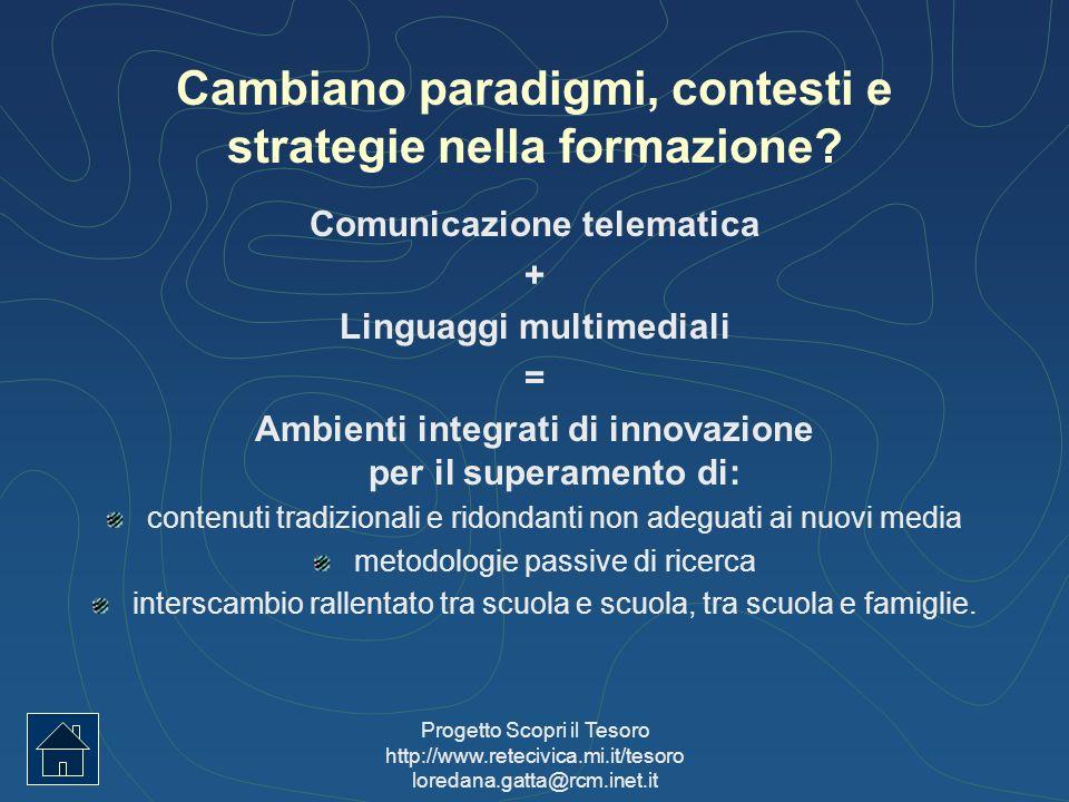 Progetto Scopri il Tesoro http://www.retecivica.mi.it/tesoro loredana.gatta@rcm.inet.it Cambiano paradigmi, contesti e strategie nella formazione? Com