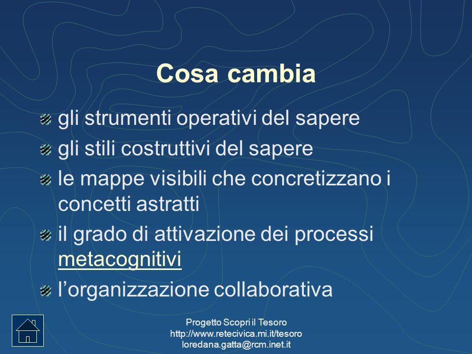 Progetto Scopri il Tesoro http://www.retecivica.mi.it/tesoro loredana.gatta@rcm.inet.it Cosa cambia gli strumenti operativi del sapere gli stili costr