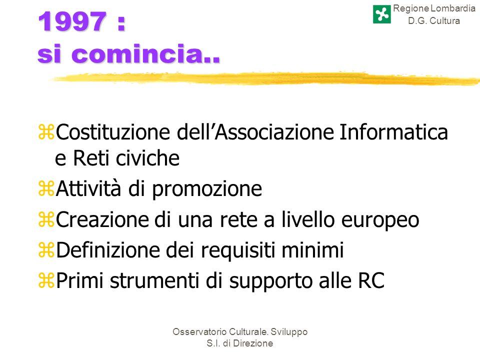 Regione Lombardia D.G. Cultura Osservatorio Culturale. Sviluppo S.I. di Direzione 1997 : si comincia.. zCostituzione dellAssociazione Informatica e Re