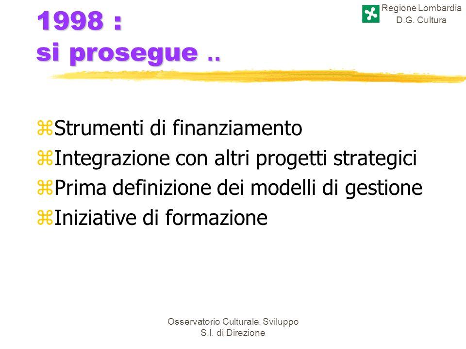 Regione Lombardia D.G. Cultura Osservatorio Culturale. Sviluppo S.I. di Direzione 1998 : si prosegue.. zStrumenti di finanziamento zIntegrazione con a