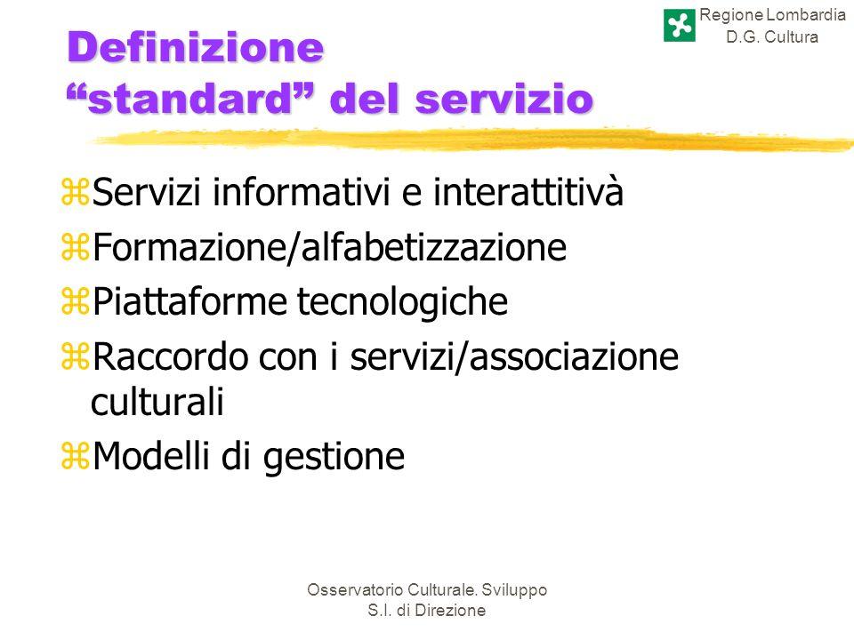 Regione Lombardia D.G. Cultura Osservatorio Culturale. Sviluppo S.I. di Direzione Definizione standard del servizio zServizi informativi e interattiti