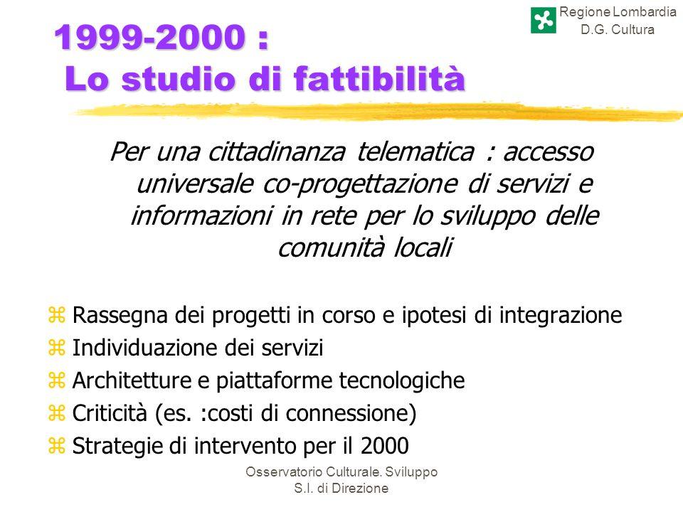 Regione Lombardia D.G. Cultura Osservatorio Culturale. Sviluppo S.I. di Direzione 1999-2000 : Lo studio di fattibilità Per una cittadinanza telematica