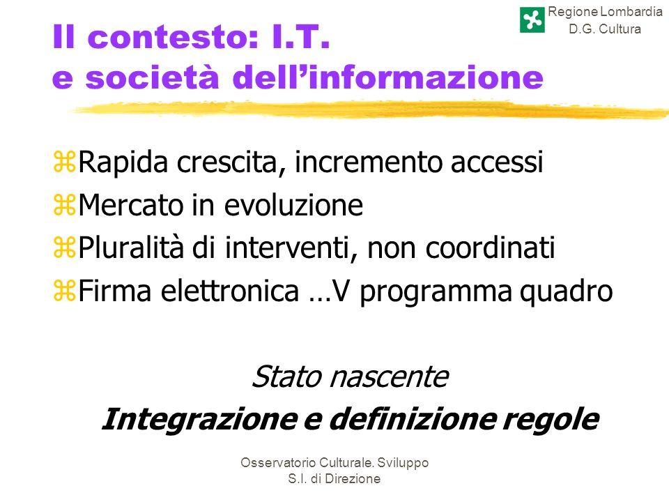 Regione Lombardia D.G. Cultura Osservatorio Culturale. Sviluppo S.I. di Direzione Il contesto: I.T. e società dellinformazione zRapida crescita, incre