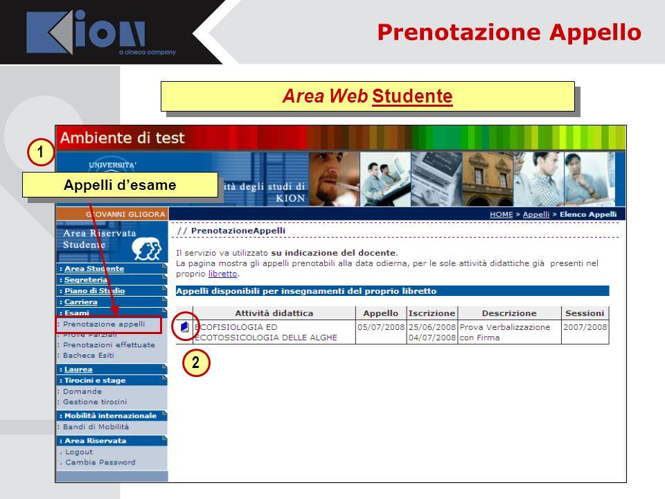 Area Web Studente Appelli desame 1 2 Prenotazione Appello