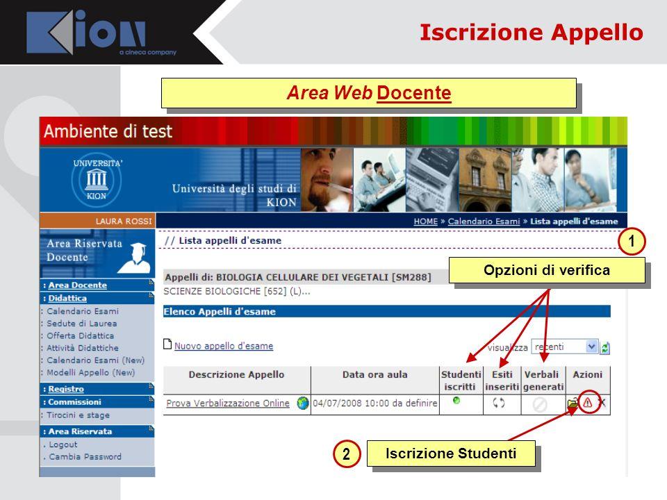 Iscrizione Studenti 1 2 Opzioni di verifica Area Web Docente Iscrizione Appello
