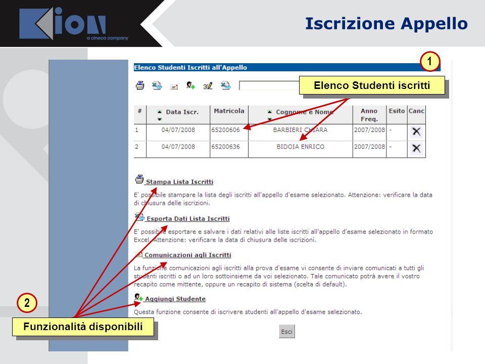 Elenco Studenti iscritti 1 2 Funzionalità disponibili Iscrizione Appello