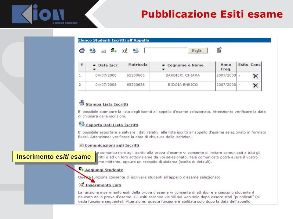 Inserimento esiti esame Pubblicazione Esiti esame
