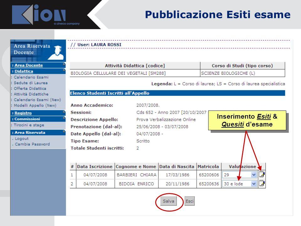 Inserimento Esiti & Quesiti desame Pubblicazione Esiti esame