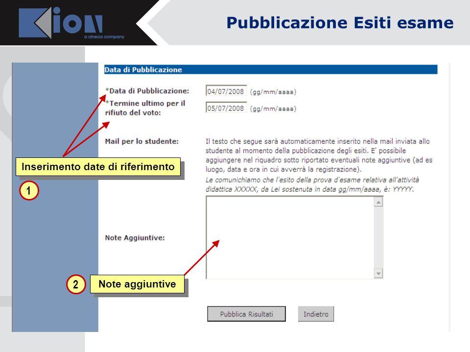 Note aggiuntive Inserimento date di riferimento 1 2 Pubblicazione Esiti esame
