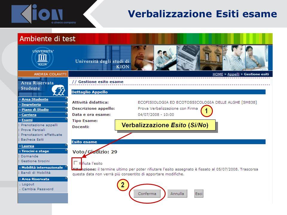 Verbalizzazione Esito (Si/No) 1 2 Verbalizzazione Esiti esame