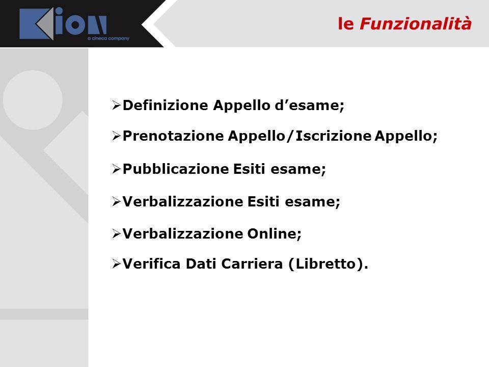 le Funzionalità Definizione Appello desame; Prenotazione Appello/Iscrizione Appello; Pubblicazione Esiti esame; Verbalizzazione Esiti esame; Verbalizzazione Online; Verifica Dati Carriera (Libretto).