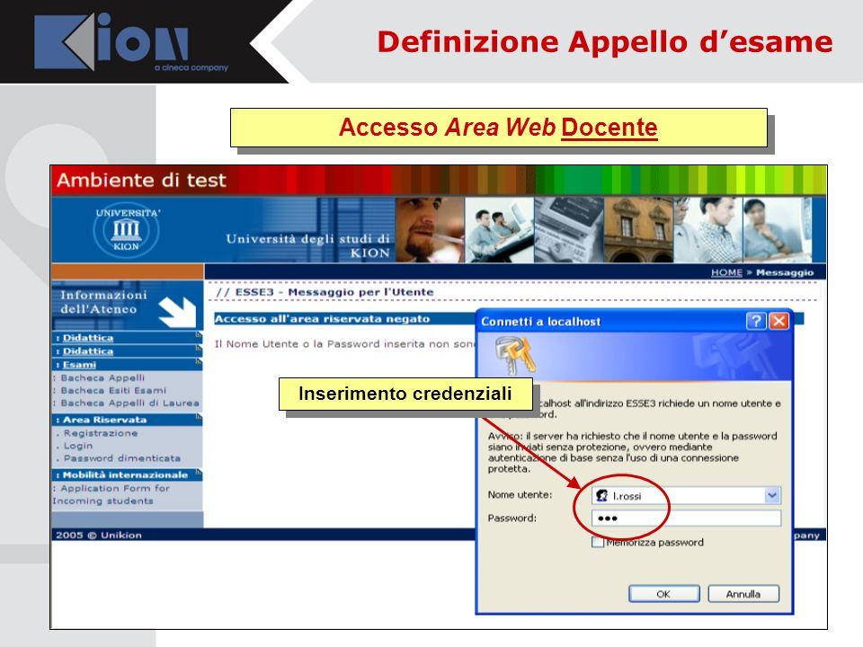 Accesso Area Web Docente Inserimento credenziali Definizione Appello desame
