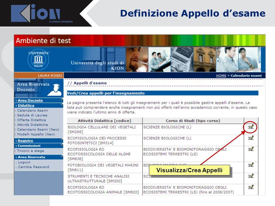 Visualizza/Crea Appelli Definizione Appello desame