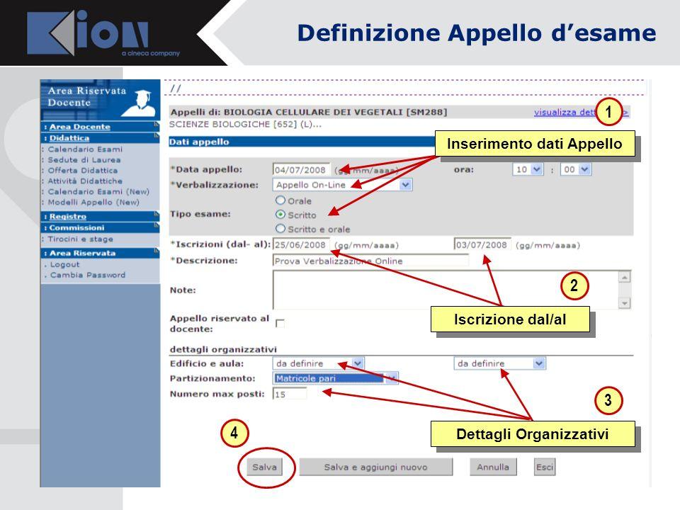 1 3 Inserimento dati Appello 2 Iscrizione dal/al 4 Definizione Appello desame Dettagli Organizzativi