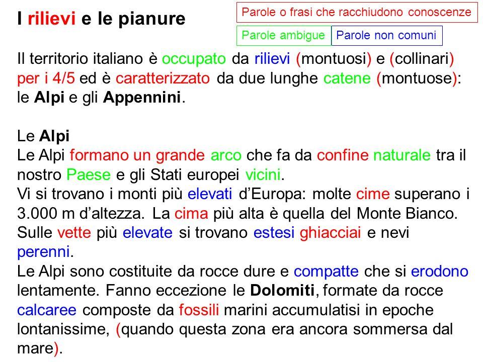 I rilievi e le pianure Il territorio italiano è occupato da rilievi (montuosi) e (collinari) per i 4/5 ed è caratterizzato da due lunghe catene (montu