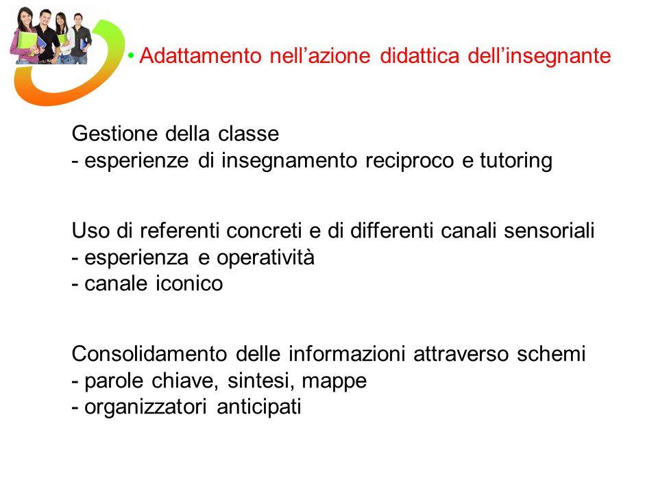 Adattamento nellazione didattica dellinsegnante Gestione della classe - esperienze di insegnamento reciproco e tutoring Uso di referenti concreti e di