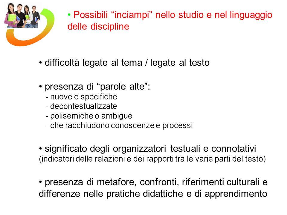 Possibili inciampi nello studio e nel linguaggio delle discipline presenza di parole alte: - nuove e specifiche - decontestualizzate - polisemiche o a
