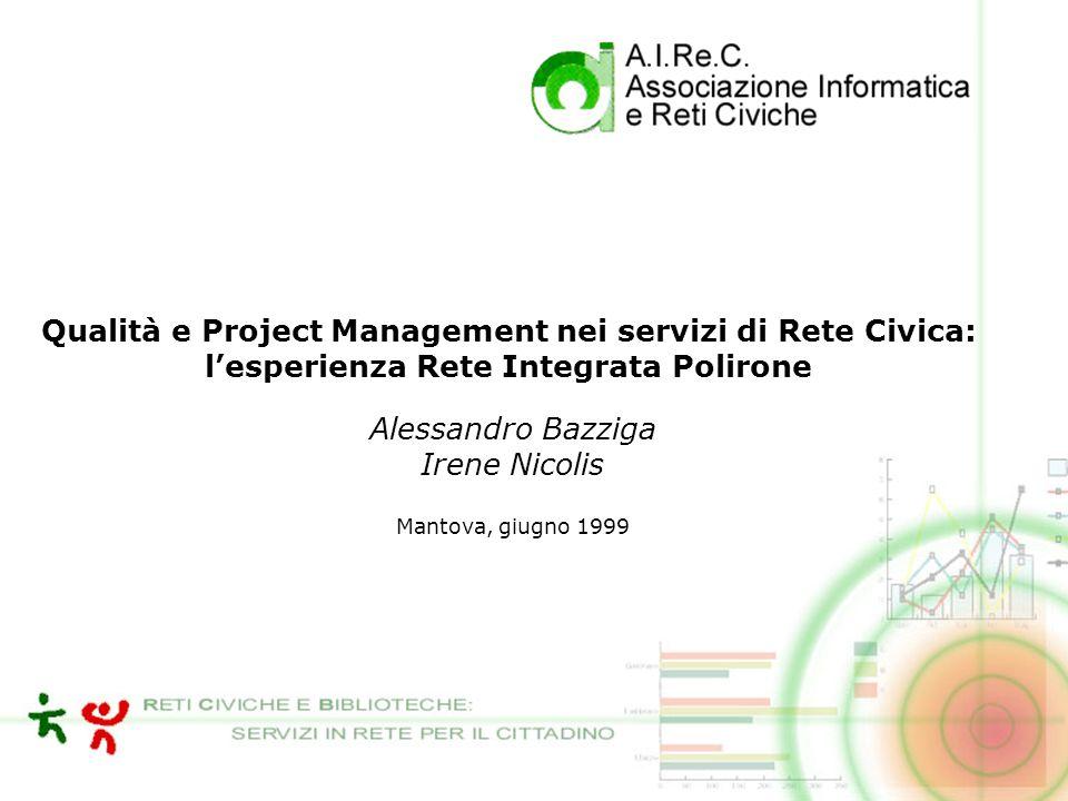Qualità e Project Management nei servizi di Rete Civica: lesperienza Rete Integrata Polirone Alessandro Bazziga Irene Nicolis Mantova, giugno 1999