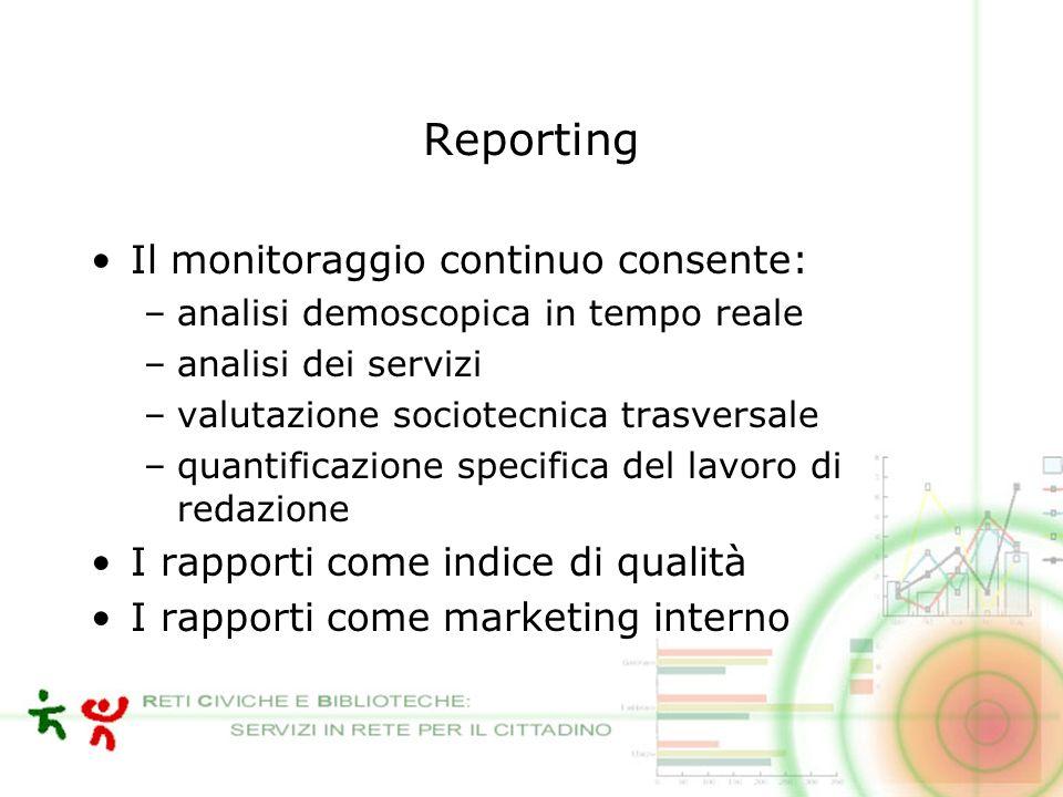 Reporting Il monitoraggio continuo consente: –analisi demoscopica in tempo reale –analisi dei servizi –valutazione sociotecnica trasversale –quantificazione specifica del lavoro di redazione I rapporti come indice di qualità I rapporti come marketing interno