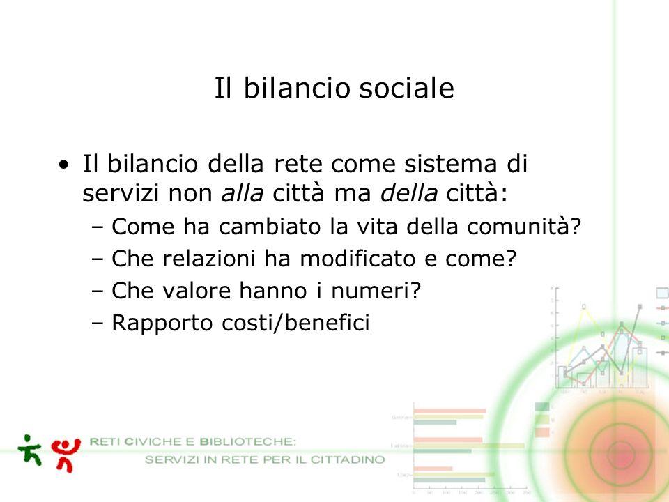 Il bilancio sociale Il bilancio della rete come sistema di servizi non alla città ma della città: –Come ha cambiato la vita della comunità.