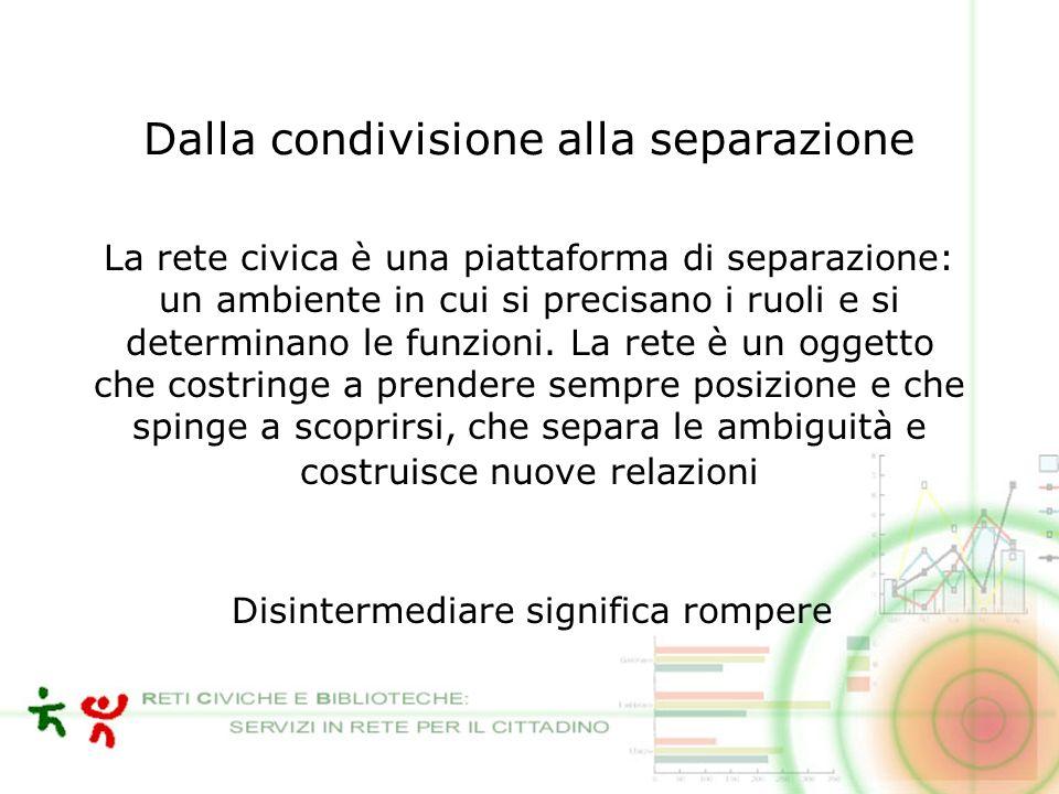 Dalla condivisione alla separazione La rete civica è una piattaforma di separazione: un ambiente in cui si precisano i ruoli e si determinano le funzioni.