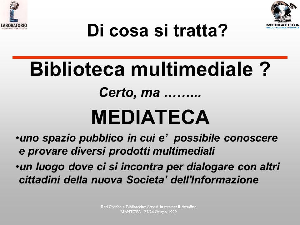 Reti Civiche e Biblioteche: Servizi in rete per il cittadino MANTOVA 23/24 Giugno 1999 Di cosa si tratta.