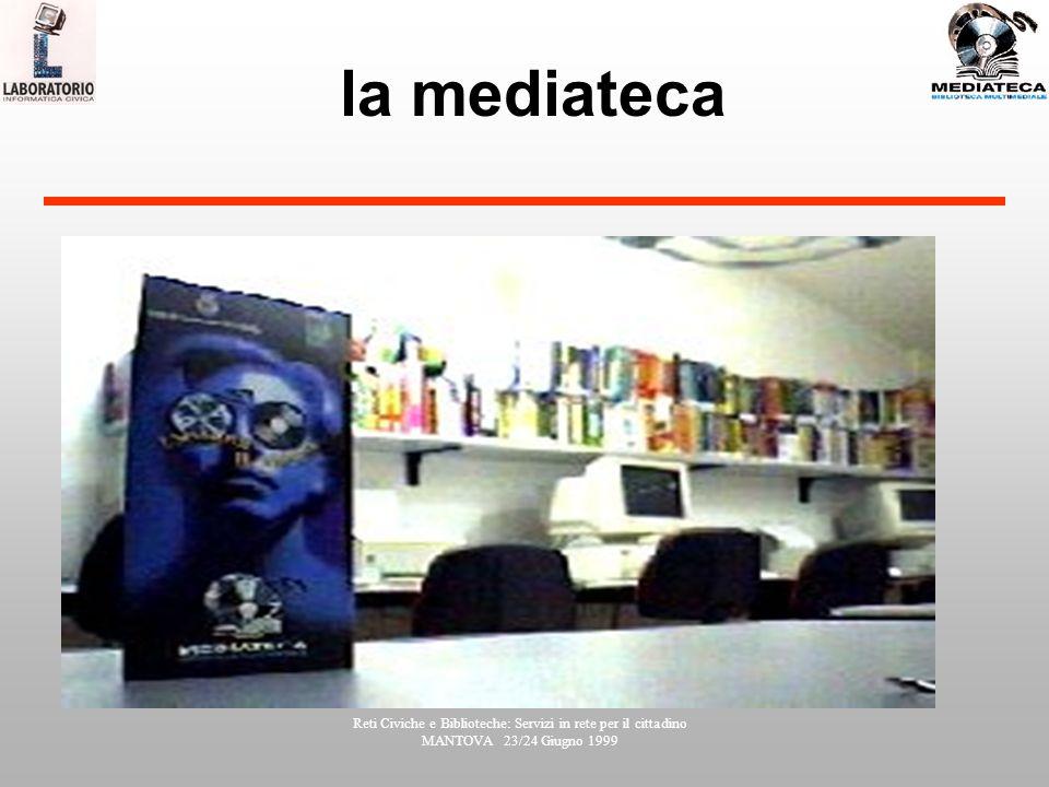 Reti Civiche e Biblioteche: Servizi in rete per il cittadino MANTOVA 23/24 Giugno 1999 la mediateca