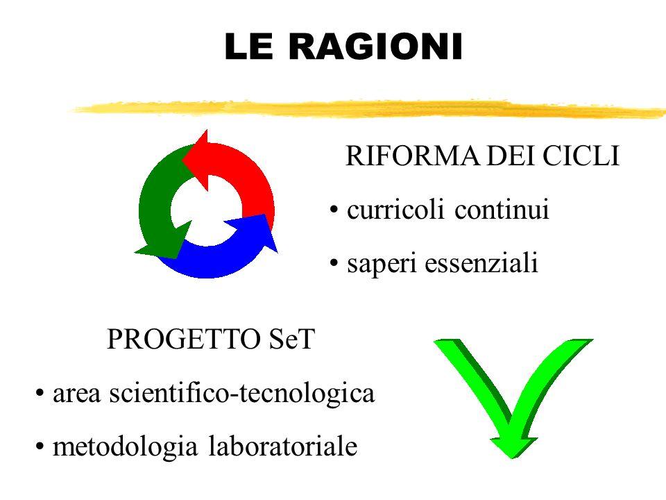 LE RAGIONI PROGETTO SeT area scientifico-tecnologica metodologia laboratoriale RIFORMA DEI CICLI curricoli continui saperi essenziali