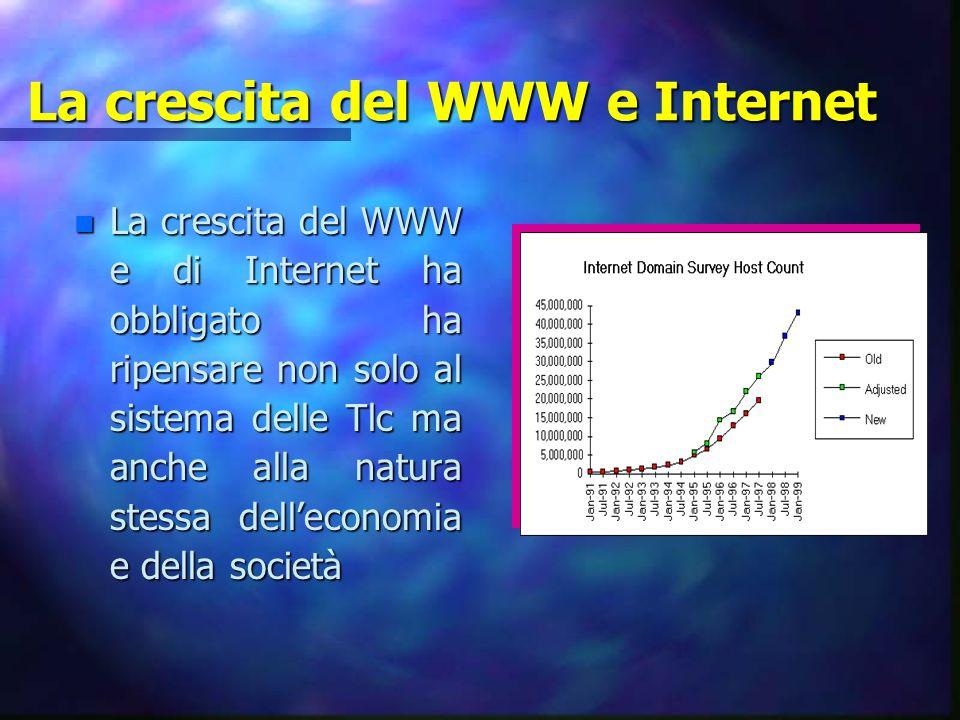La crescita del WWW e Internet n La crescita del WWW e di Internet ha obbligato ha ripensare non solo al sistema delle Tlc ma anche alla natura stessa delleconomia e della società