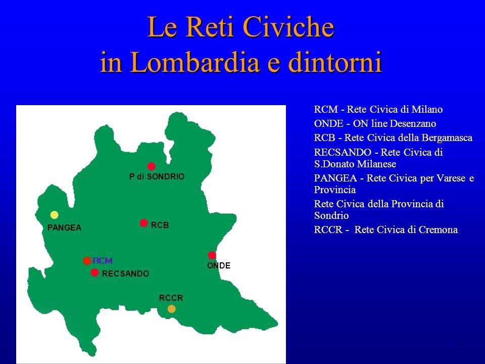 11 Le Reti Civiche in Lombardia e dintorni RCM - Rete Civica di Milano ONDE - ON line Desenzano RCB - Rete Civica della Bergamasca RECSANDO - Rete Civica di S.Donato Milanese PANGEA - Rete Civica per Varese e Provincia Rete Civica della Provincia di Sondrio RCCR - Rete Civica di Cremona ONDE RCB RECSANDO PANGEA P di SONDRIO RCCR