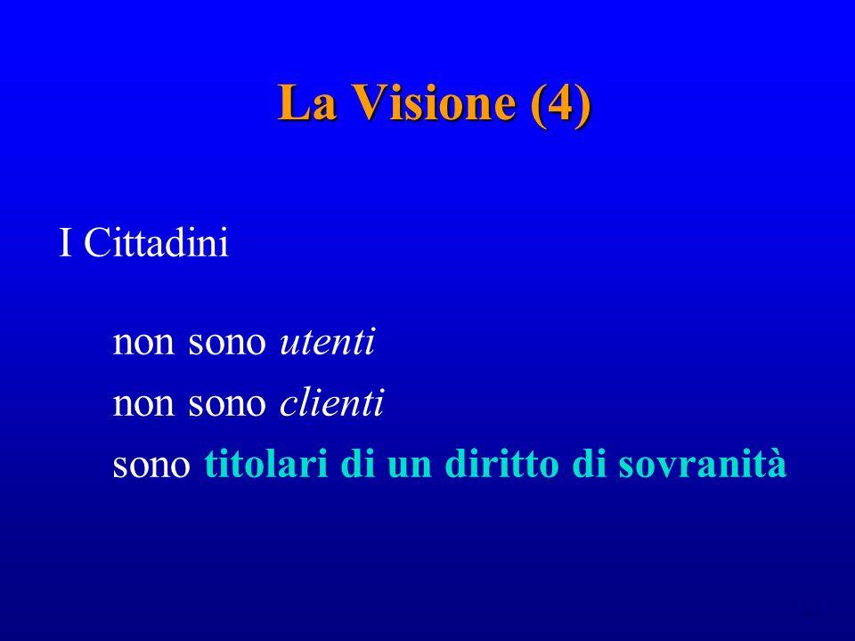 21 La Visione (4) I Cittadini non sono utenti non sono clienti sono titolari di un diritto di sovranità
