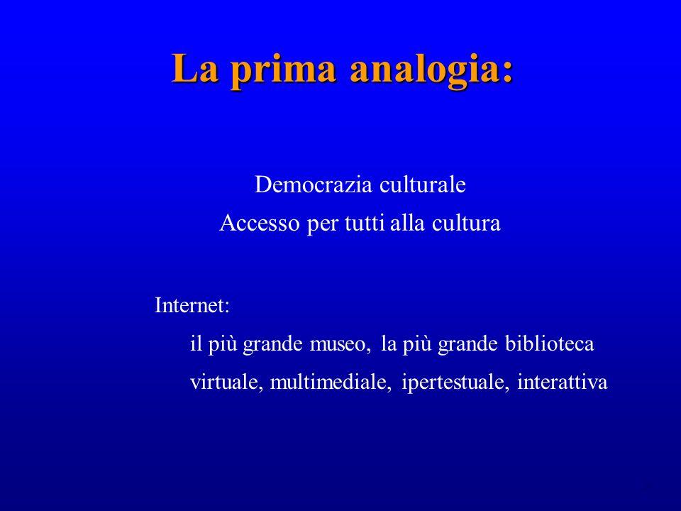 24 La prima analogia: La prima analogia: Democrazia culturale Accesso per tutti alla cultura Internet: il più grande museo, la più grande biblioteca virtuale, multimediale, ipertestuale, interattiva
