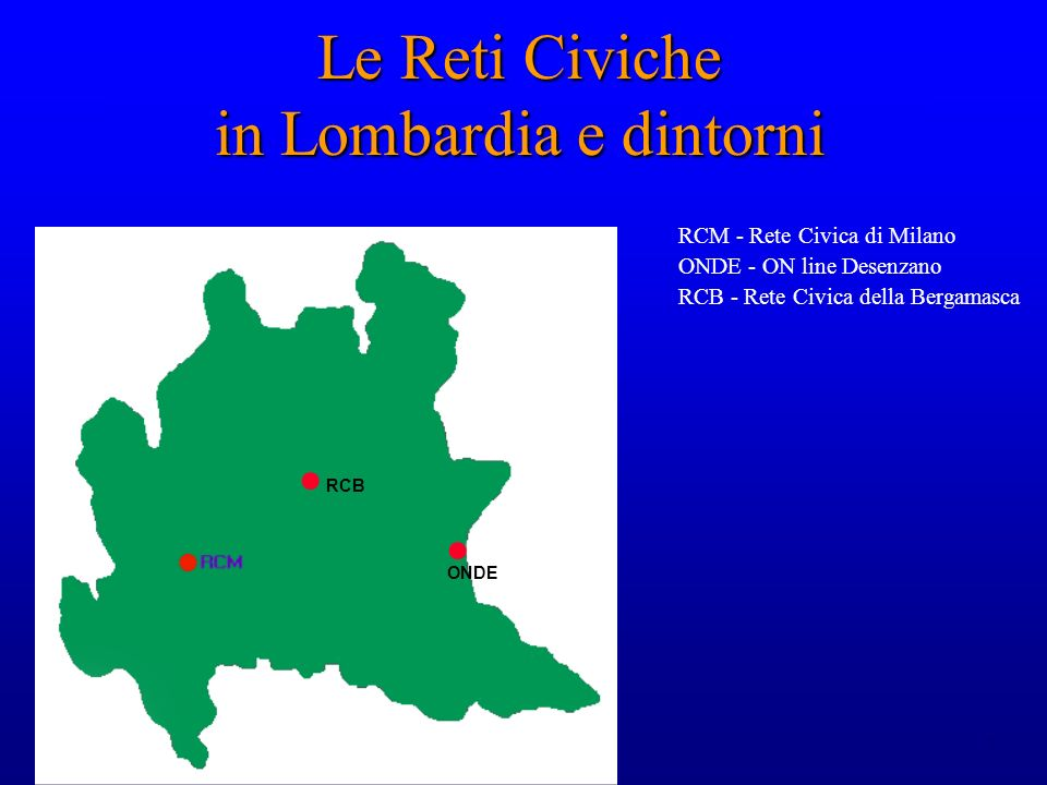 7 Le Reti Civiche in Lombardia e dintorni RCM - Rete Civica di Milano ONDE - ON line Desenzano RCB - Rete Civica della Bergamasca ONDE RCB