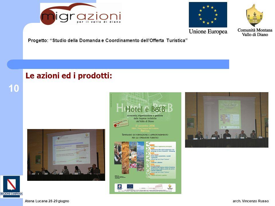 10 Progetto: Studio della Domanda e Coordinamento dellOfferta Turistica Le azioni ed i prodotti: Atena Lucana 28-29 giugno arch.
