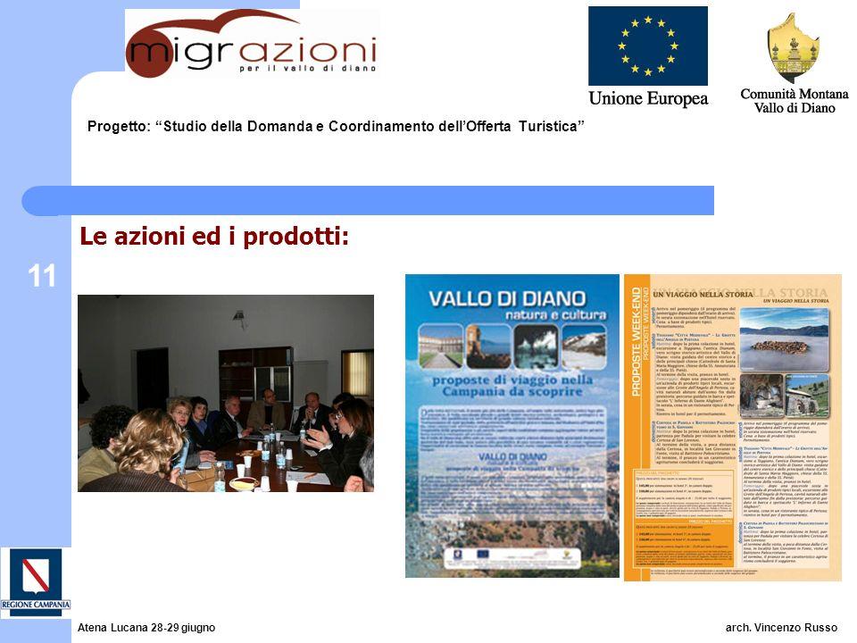 11 Progetto: Studio della Domanda e Coordinamento dellOfferta Turistica Le azioni ed i prodotti: Atena Lucana 28-29 giugno arch. Vincenzo Russo